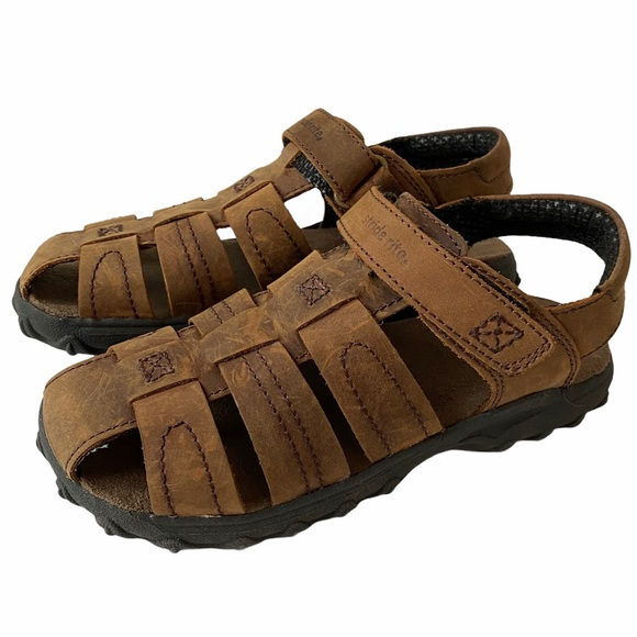 Stride Rite Hudson Brown Leather Sandals Size 1
